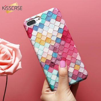 KISSCASE For iPhone 6 Case 3D Scales PC Case For iPhone 6s 7 Plus X 10 5s For Samsung Galaxy A5 2017 Note 8 S8 Plus S7 Edge Capa