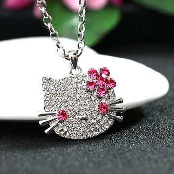Tassina Rose Gold Color Crystal Cat Hello Kitty KT  Long Animal Necklaces & Pendants Fashion Jewelry for women MKSY00080