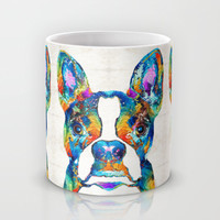 Colorful Boston Terrier Dog Pop Art - Sharon Cummings Mug by Sharon Cummings