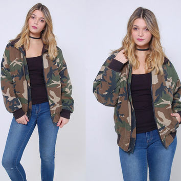 Vintage 90s Camo BOMBER Jacket Vintage CAMOUFLAGE Jacket Fully Lined MILITARY Army Jacket Grunge Outerwear