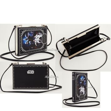 Licensed cool Star Wars Princess Leia & Luke Book Crossbody Bag Purse Clutch Faux Leather NWT
