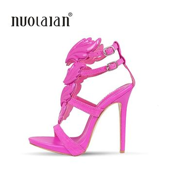Summer Brand Women Pumps Sexy High Heels sandals Leaf Flame Women's Shoes Peep Toe High Heels Party Wedding Shoes Woman