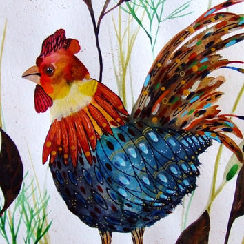 Rooster Watercolor Rooster Painting Rooster Drawing Animal Art Bird Painting Blue Rooster Decor Home Decor Rooster Wall Art Rooster Fine Art