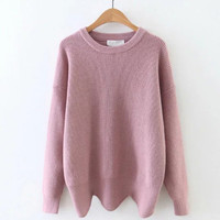 Pink Drop Shoulder Seam Wave Hem Sweater-3Colors