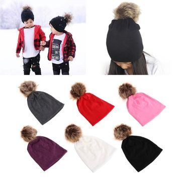 Kids Artificial Fur Ball Cotton Blend Soft Warm Hat Beanie Cap