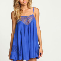Blue Crochet Netted Slip Dress