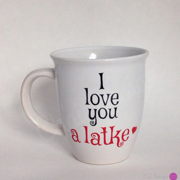 I love you a latke heart Valentine's Day mug. 14oz Classic White Mug. Jewish Hebrew Yiddish Sayings. Funny Gift.