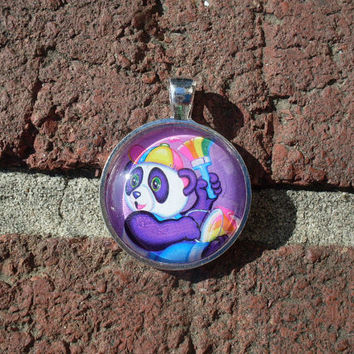 Lisa Frank PAINTER PANDA Bear Vintage Sticker Circle Pendant Charm Necklace