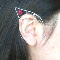 Silver Plated Handmade Wire Wrapped Magenta Crackle Glass Elf Ear Cuffs. Wire Weave, Pixie Ears, LARP, Faery Ear Cuffs