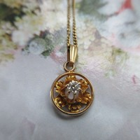Antique 10K Diamond Pendent on 14K Chain