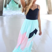 Take The Scenic Route Navy Color Block Maxi Dress