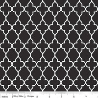 Black and White Cotton Quiltling Fabric, Evening Blooms Wallpaper by Riley Blake Designs, 1/2 Yard, more yardage available