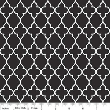 Black Moroccan Tile Cotton Quiltling Fabric, Evening Blooms Wallpaper Cotton Fabric by Riley Blake Designs, 1 Yard, more yardage available