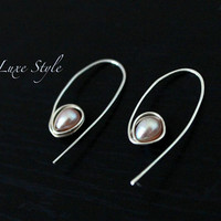 Contemporary Earrings Sterling Silver Pearl Peach Modern Handmade Metal Jewelry Luxe Style