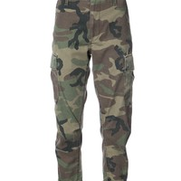 Re/Done Camouflage Print Cropped Pants - Camouflage Print Cropped Pants