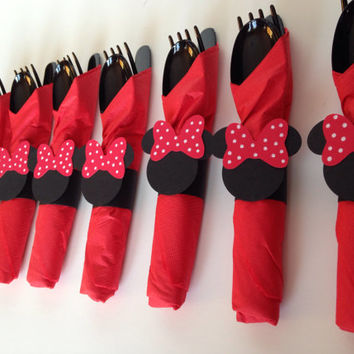 Minnie Mouse Birthday Party Cutlery, Red polka dot wrapped utensils, party supplies, zebra , pink polka dot