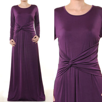 Trendy Muslim Abaya Twist Knot Jersey Dress Long Sleeves Maxi Size S/M - 3822 Purple