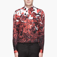 Paul Smith  Red And White Gradient Rose Print Shirt for men | SSENSE