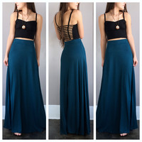 A Basic Maxi Skirt in Teal