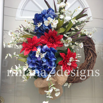 Summer Wreath, Fourth of July Decorations, Red White and Blue, Patriotic Grapevine Decor, Memorial Day Floral, Cape Cod Style Door Hanger