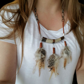 Crescent Deer Antler Necklace With Real Feathers,Horseshoe Necklace,Grizzly Feathers And Guinea Feathers,Soldered Pendant,Tribal Jewelry