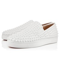 Christian Louboutin Cl Roller-boat Men's Flat White/white Leather Classic Sneakers