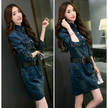 Denim Blue Sleeve Button Collared Dress With Belt