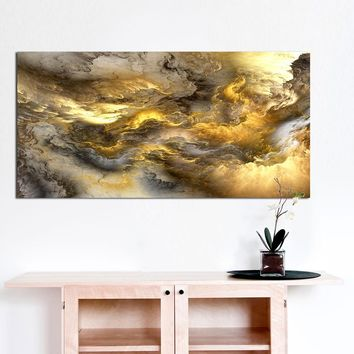 WANGART Large Size Wall Art Prints Cloud Abstract Colorful Oil Painting  Decor Light Brown for Living Room Wall Picture no frame