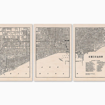 Chicago Wood Map, 3 Panel Split Maple Wood Wall Hanging, 2.5ft x 5.5ft, Large Wood Art, Chicago Wall Art, Chicago Map on Wood