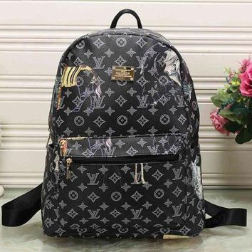 LMFON Perfect LV Louis Vuitton Pattern Leather Travel Bag Backpack