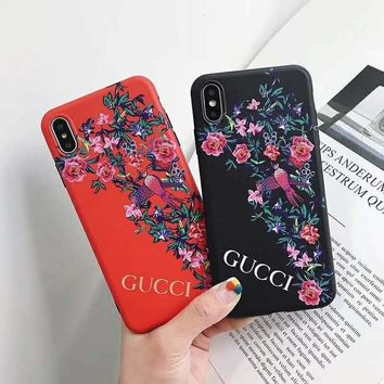 GUCCI new tide brand flower iPhone7plus mobile phone case cover