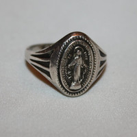 Virgin Mary Sterling Ring  Vintage 1960s Jewelry