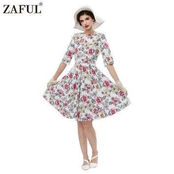 ZAFUL Spring Autumn Women Vintage Plus Size Dresses Cotton Linen Ball Gown Evening Party Dress Casual Natural Feminino Vestidos
