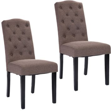 Costway Set of 2 Tufted Fabric Wood Accent Dining Chair