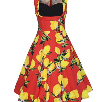 Casual Sweet Heart Fruit Lemon Printed Plus Size Skater Dress