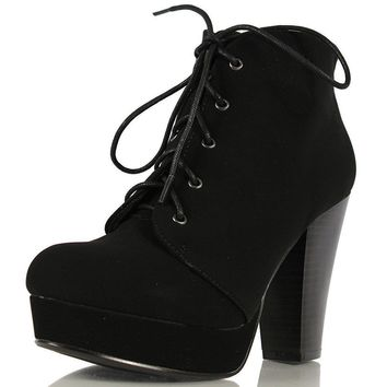 Womens Classic Black Platform Closed Toe Ankle Boots