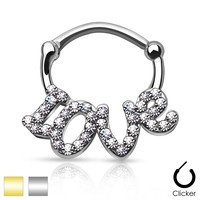 "Crystal paved ""LOVE"" Septum Clicker"