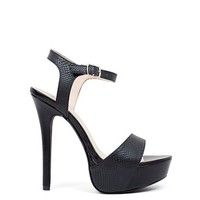 Flawless 55 Heel Black Snakeskin Platform Stiletto Ankle Strap High Heels
