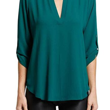 Lush Emerald Roll Tab Tunic