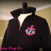 Anchor Monogrammed QUARTER ZIP PULLOVER by SouthernPrepCo on Etsy