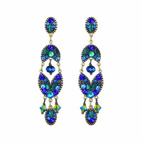 Michal Golan Peacock Collection Long Three Part Drop Earrings on Embellished Posts