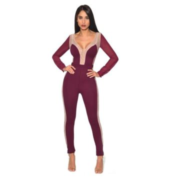 Burgundy Crystal Embellished Mesh Sleeve Stretch Crepe Jumpsuit