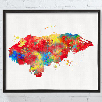 Honduras Map, Honduras Poster, Travel Print, Watercolor Map, Map Poster, Map Painting, Framed Art, Custom Color, Geography Poster