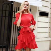 Elegant Hollow Out Sexy Dress Women Ruffle Flare Sleeve Autumn Dress Red Fashion Winter Dress Party