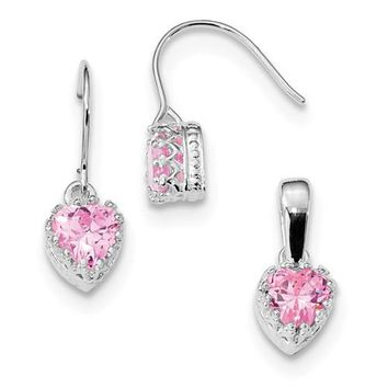 Sterling Silver Pink CZ Crown Heart Earrings And Pendant Set