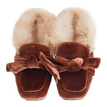 'Erika' Bow Velvet Inner Fur Slippers