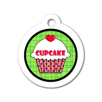 Red Cupcake with Green Pattern - Cute Pet Tag