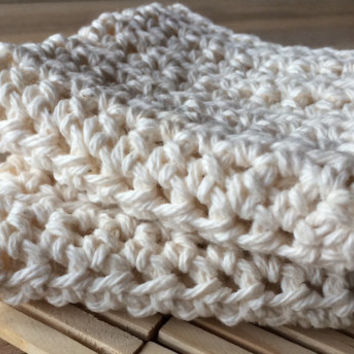 Wash cloth set of 2, shower, or dish cloth, cream colored, off white