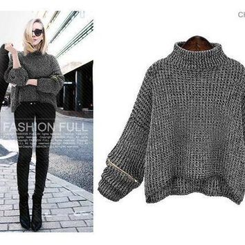 DCKL9 Large size women's autumn new loose bat sleeve turtleneck sweater [189416964122]