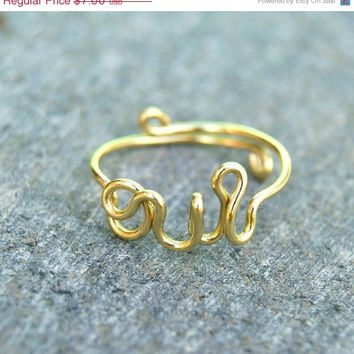 shesalering oui mini ring, adjustable gold ring